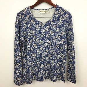 4/$25 Appleseed's Long Sleeve Floral Print Shirt